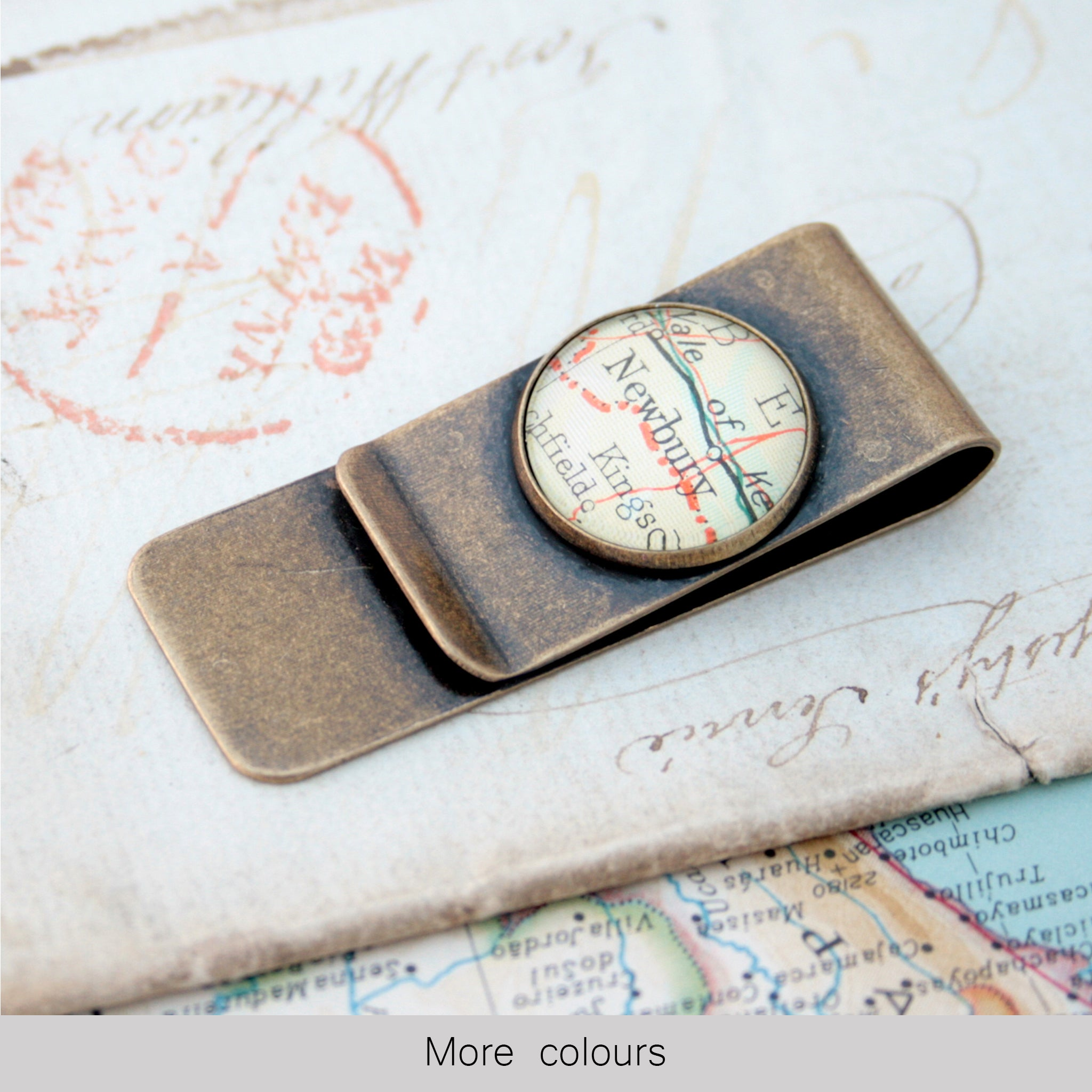 Bronze money clip featuring map of Newbury
