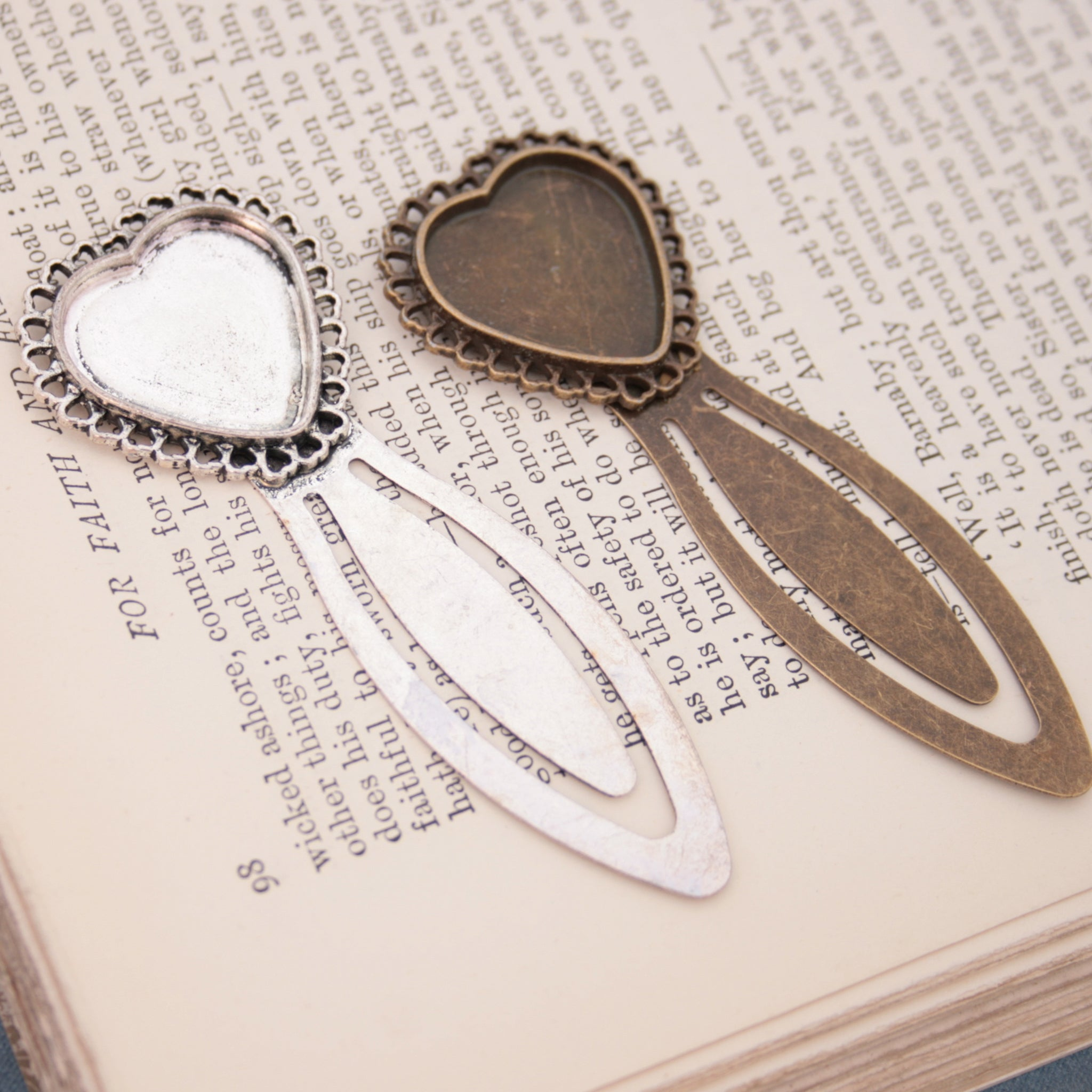Silver tone and antique bronze bookmark bazels