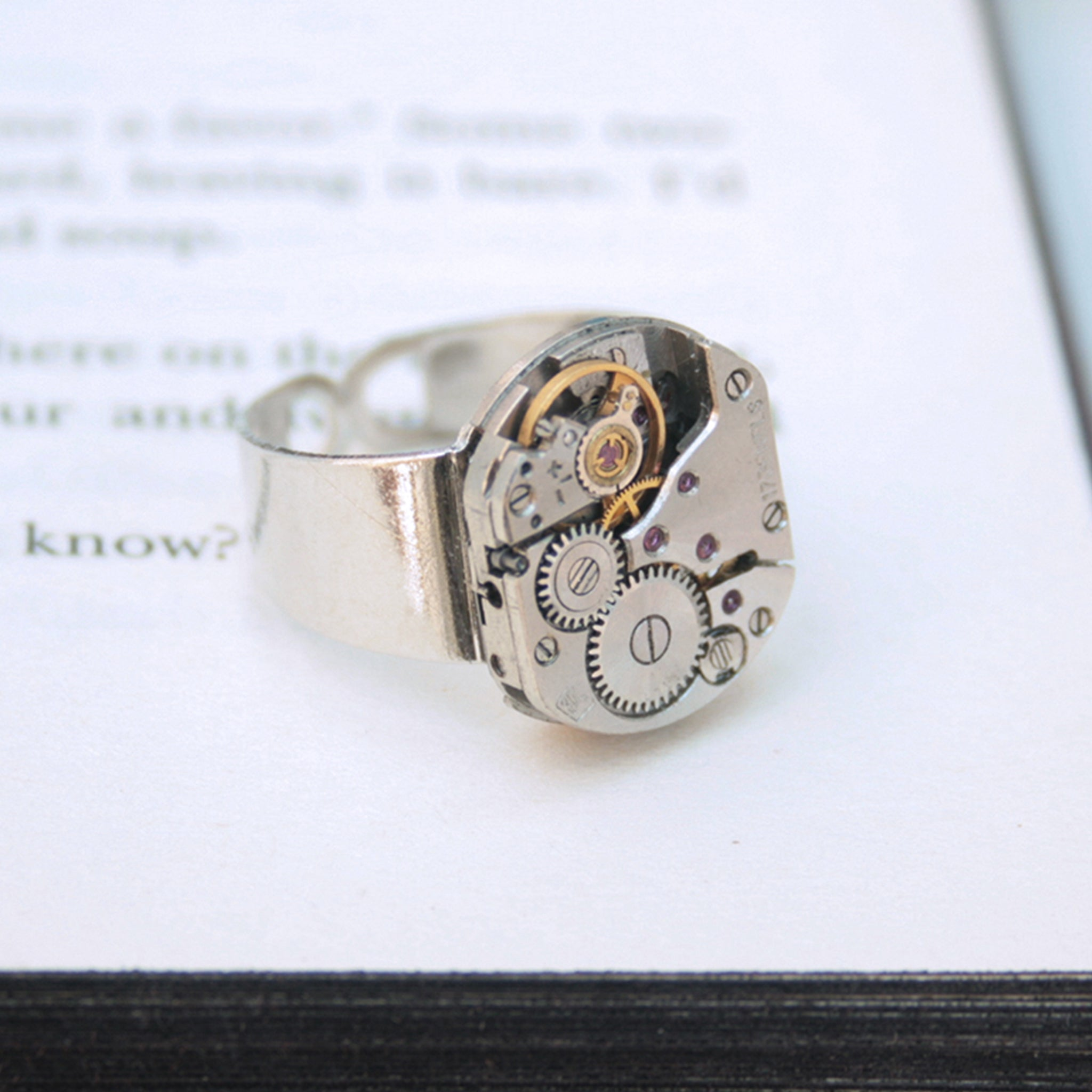 Mens Pinky Ring in Steampunk Style made of watch movement in silver color