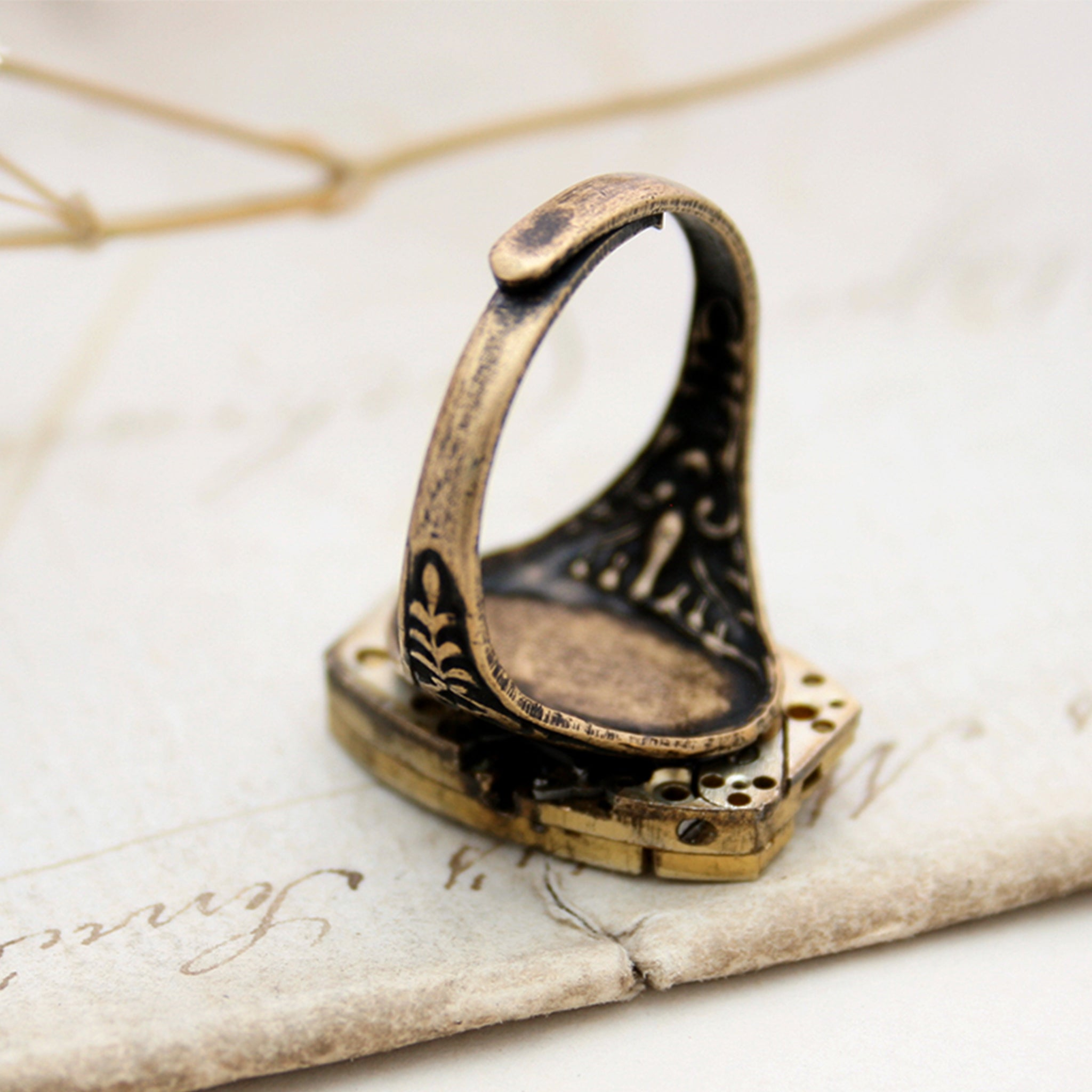 Adjustable ring band in Golden Steampunk Signet Ring