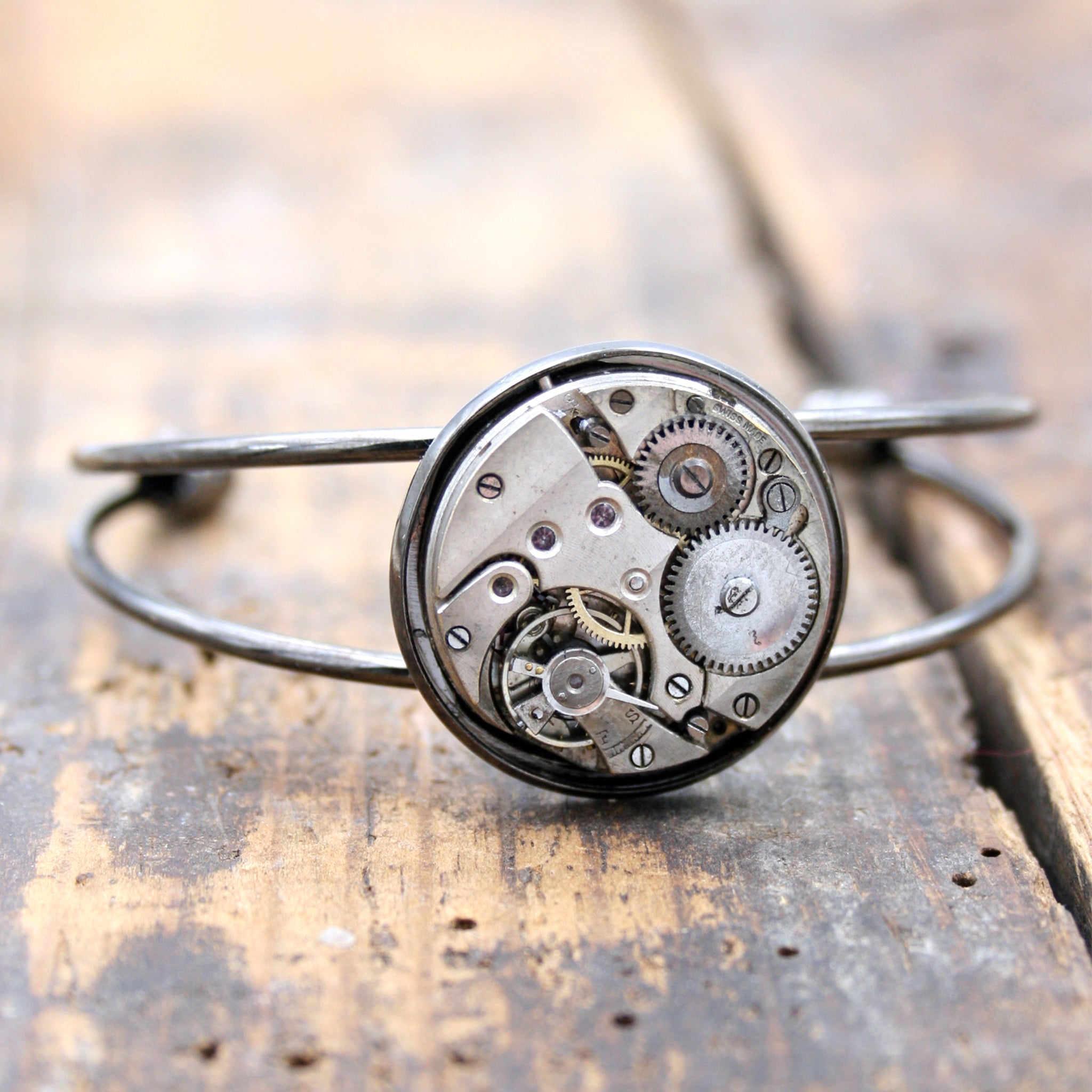 Steampunk open bangle bracelet in gunmetal black tones