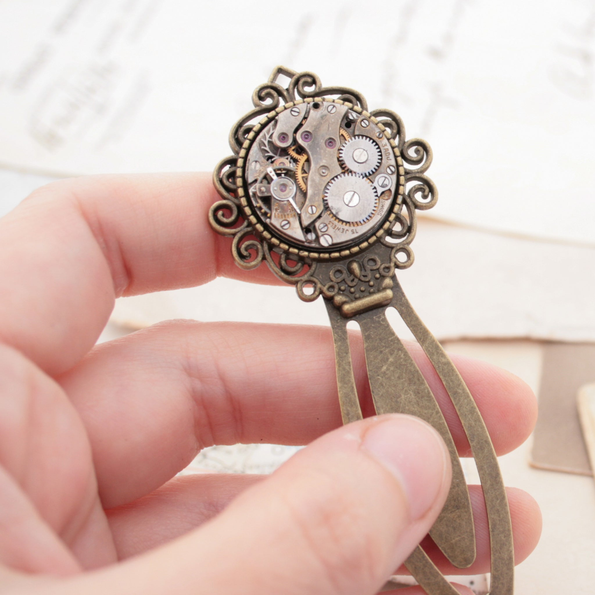 metal bookmarks with steampunk watch movement