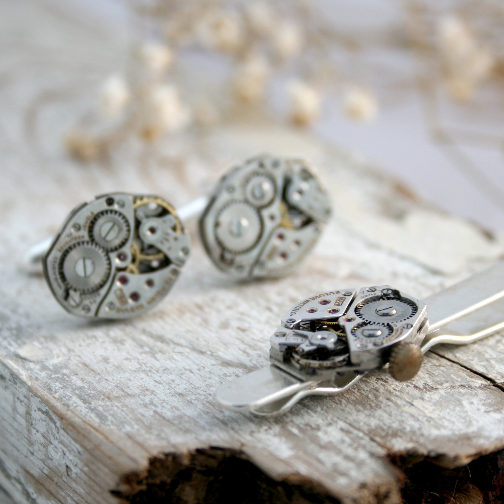 Sterling Silver Tie Clip and Cufflinks Set