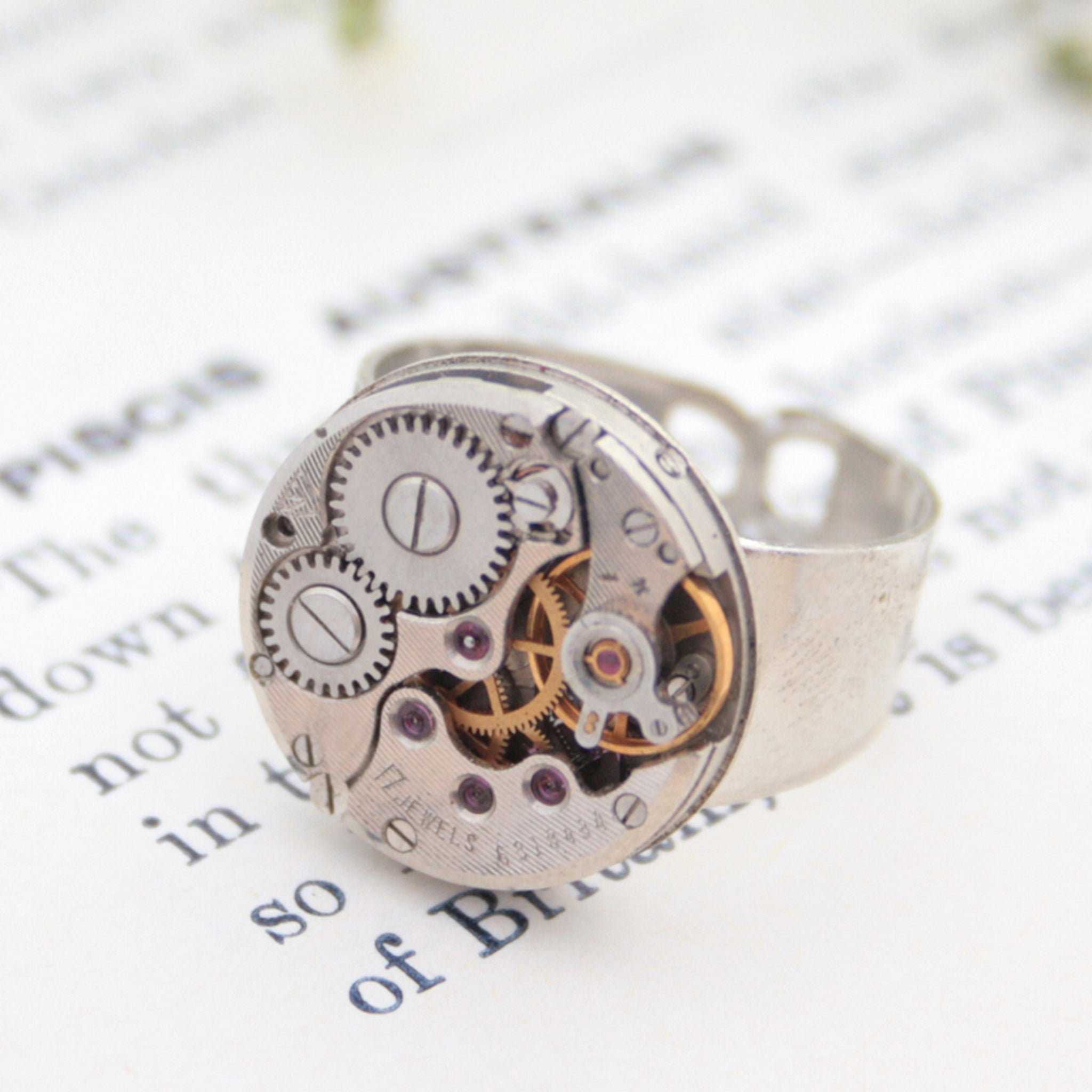 Round Steampunk Mens Signet Ring