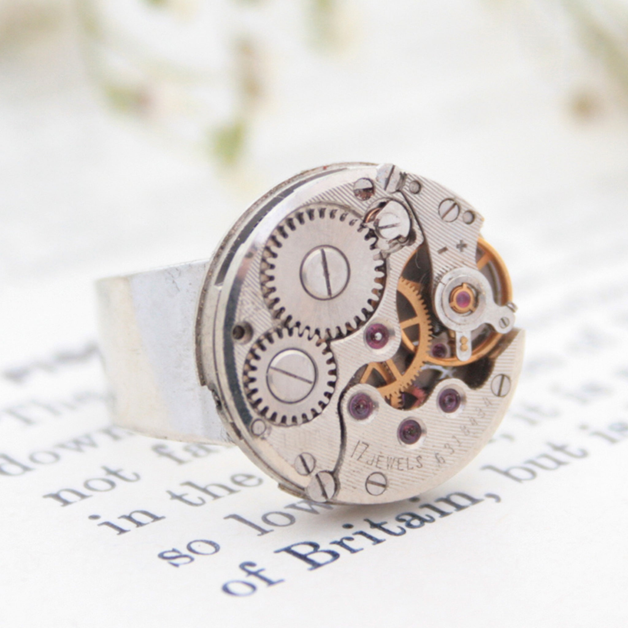 Round Steampunk Mens Signet Ring made of watch inside