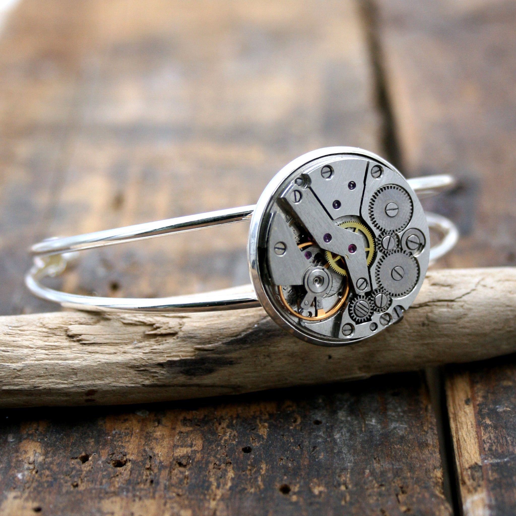 Steampunk open bangle bracelet in silver tones