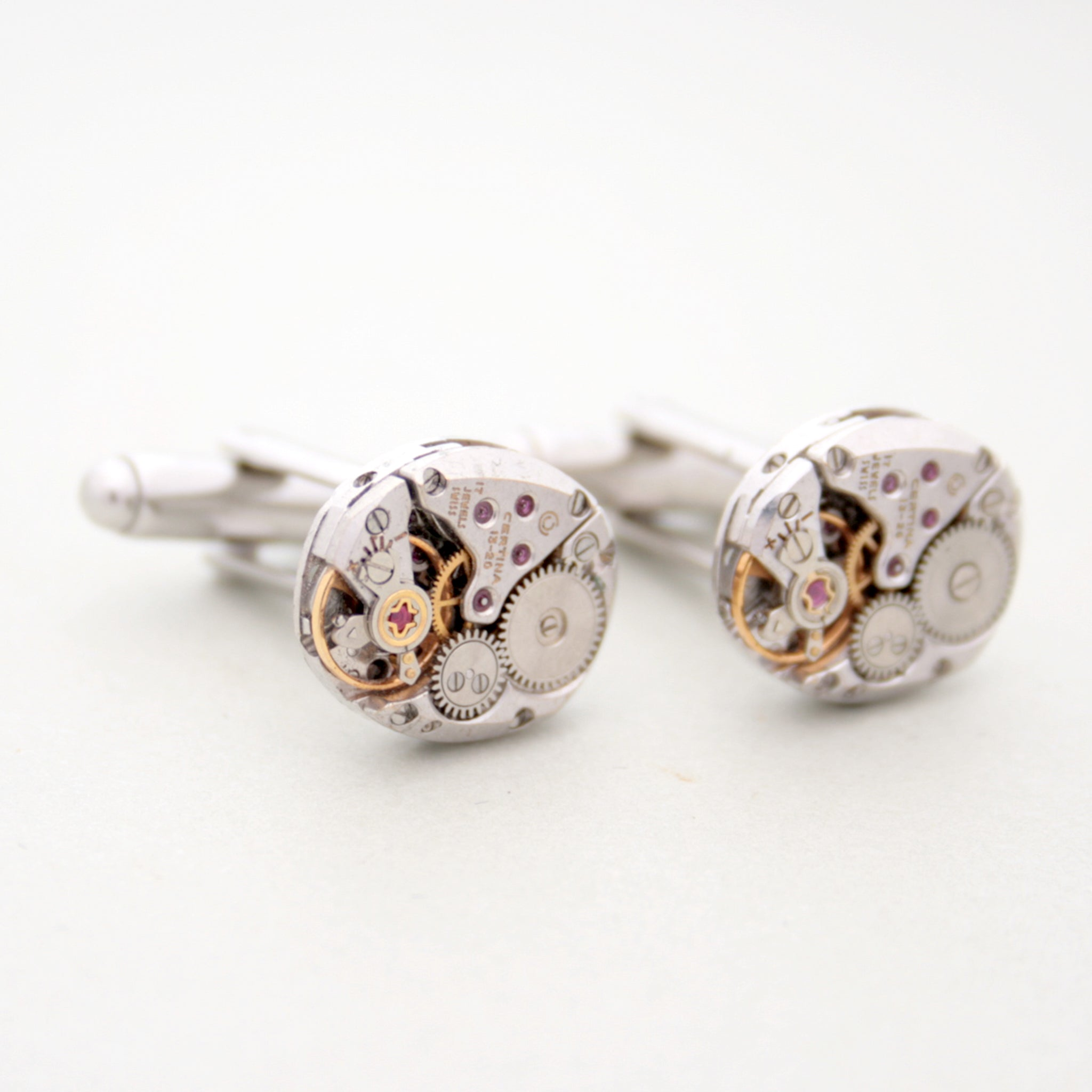 Deluxe Steampunk Cufflinks made of real watch movements on sterling backs