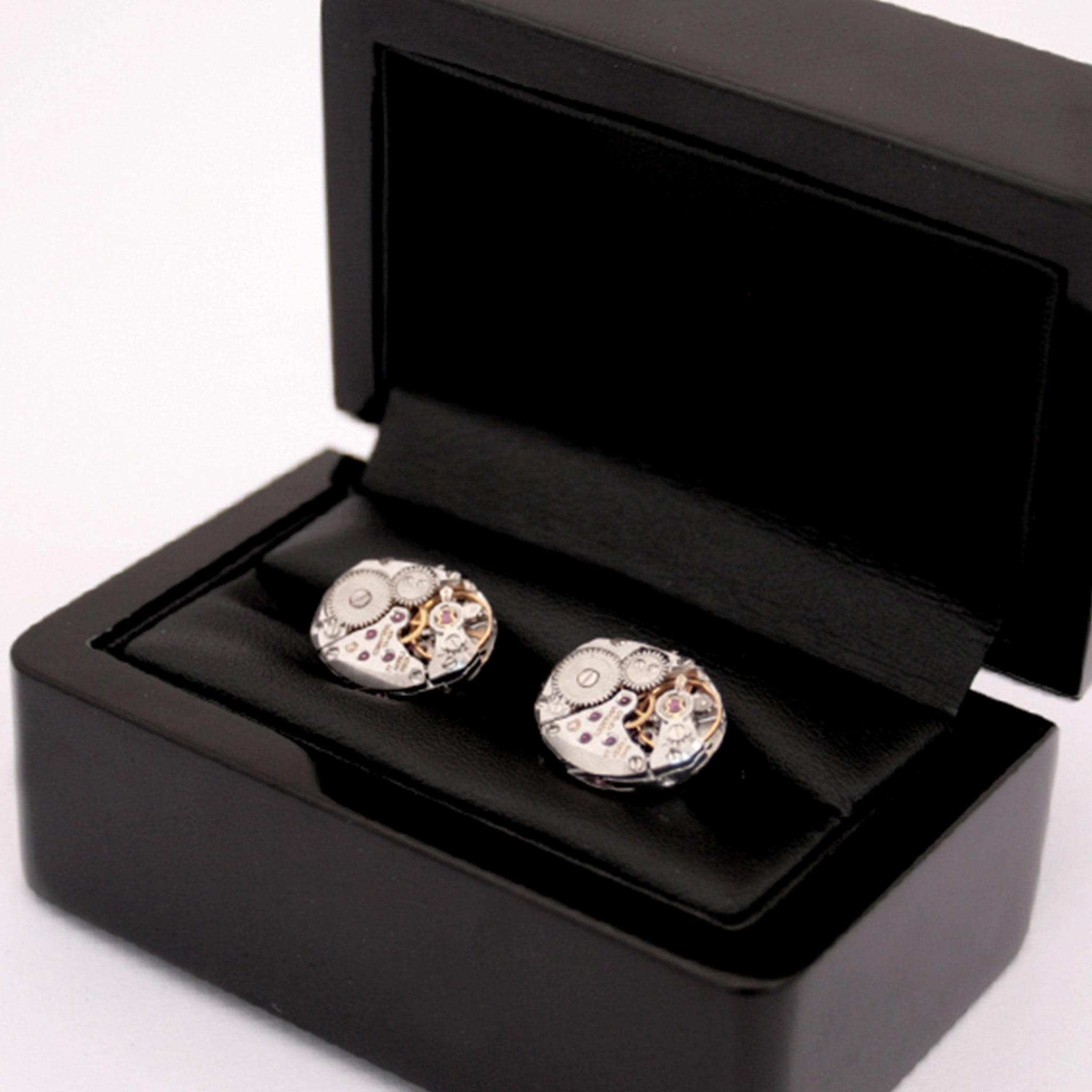 Deluxe Steampunk Cufflinks in Ebony Box