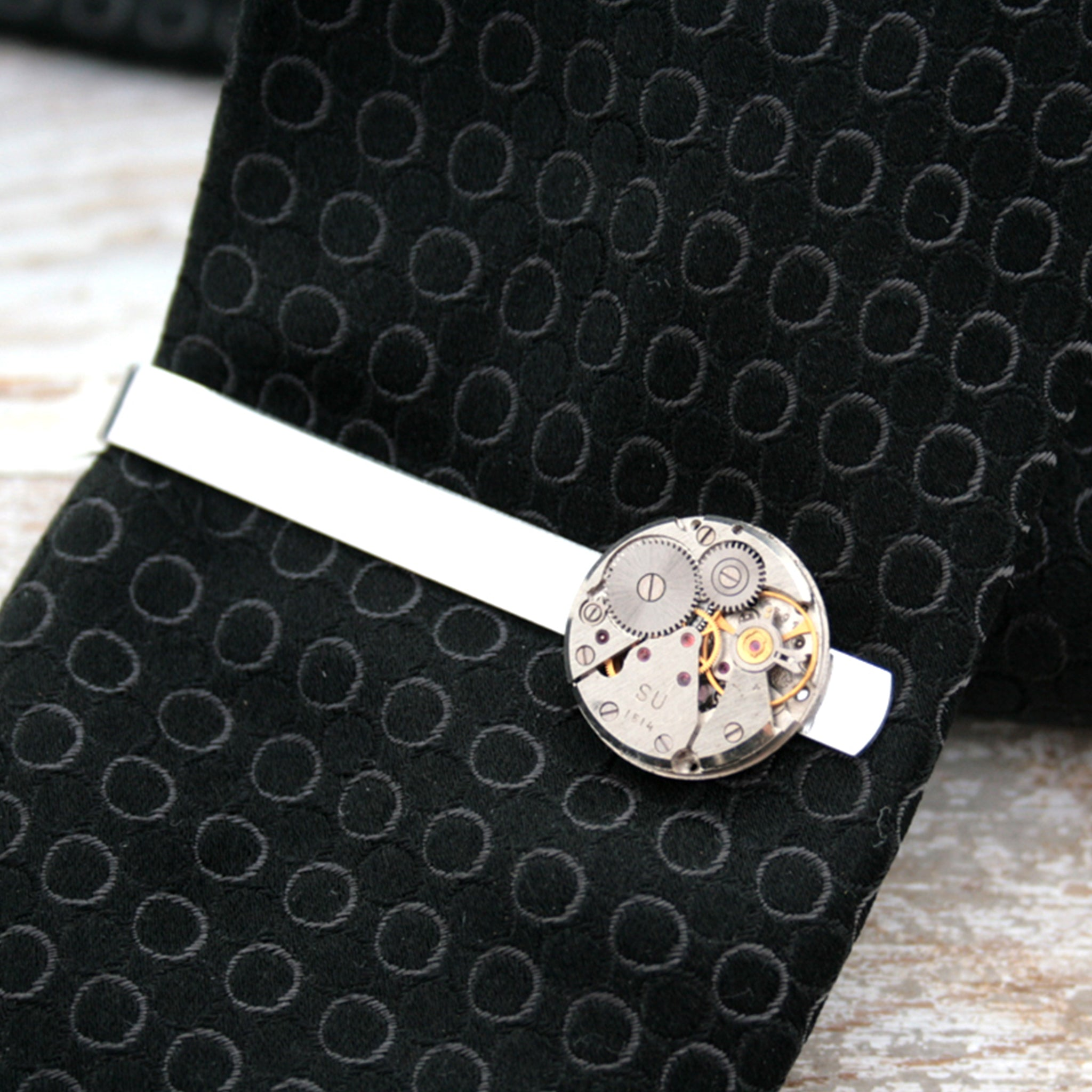 Steampunk Watch Movement Tie Clip on a tie