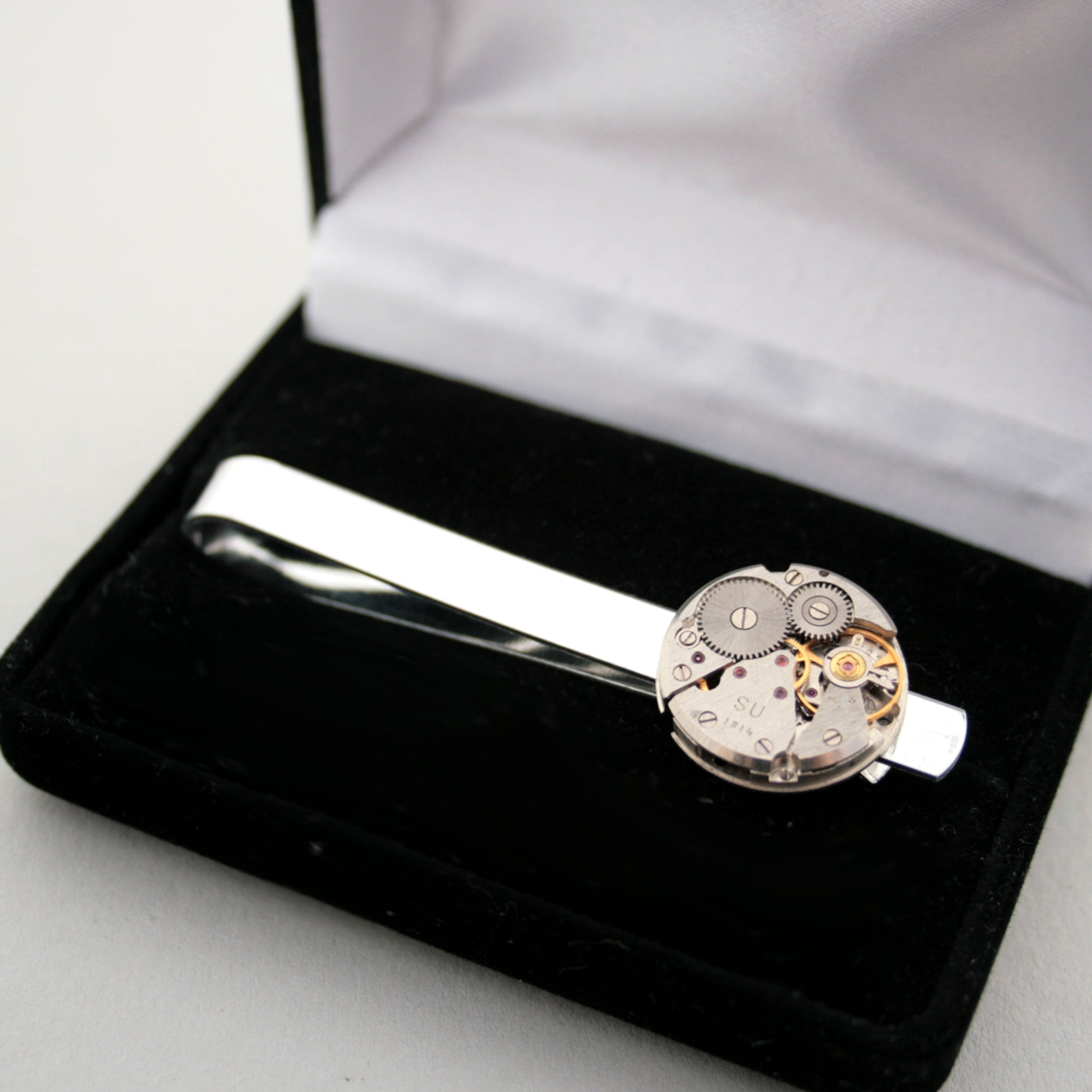 Steampunk Watch Movement Tie Clip in presentation box