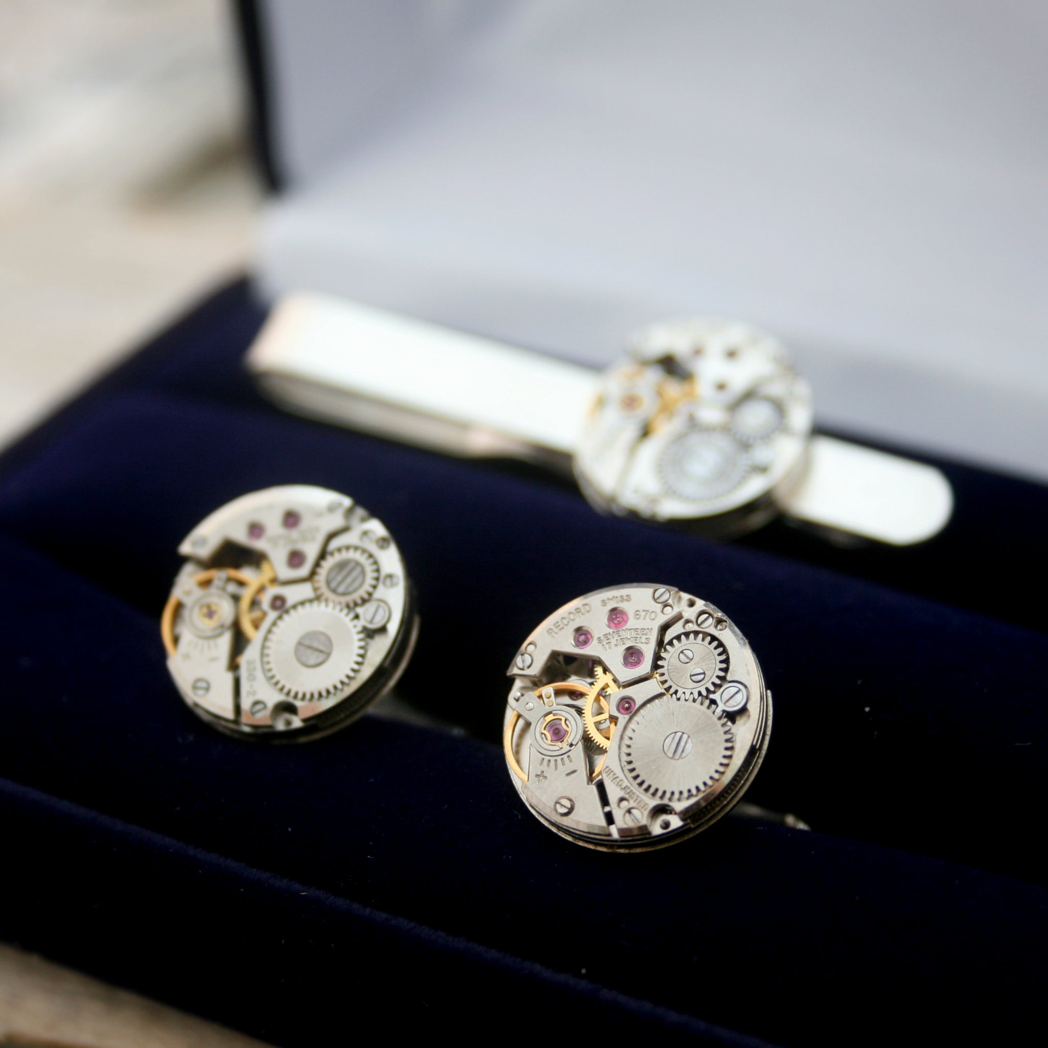Steampunk Sterling Tie Clip and Cufflinks Set