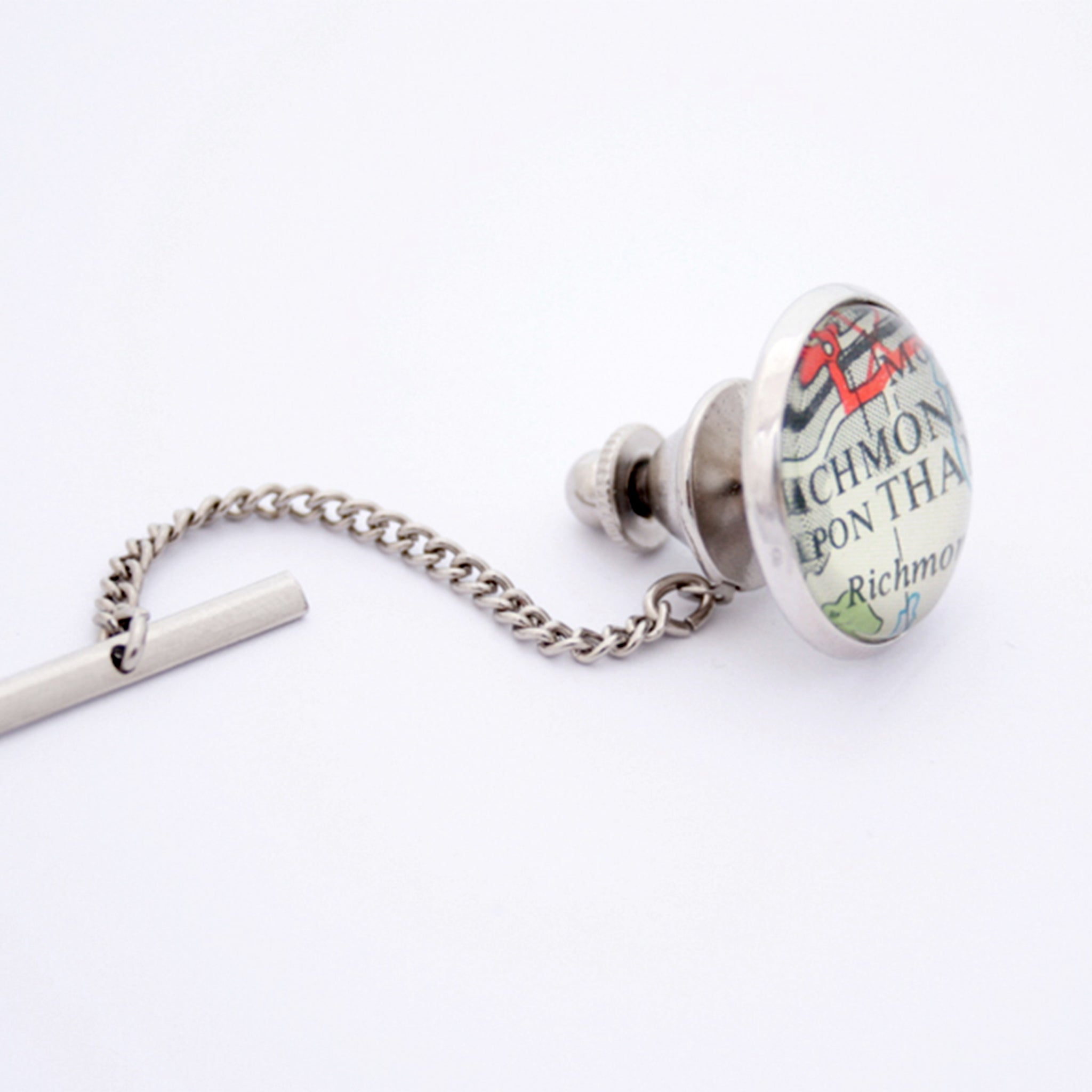 Personalised Tie Tack in silver colour featuring parts of London
