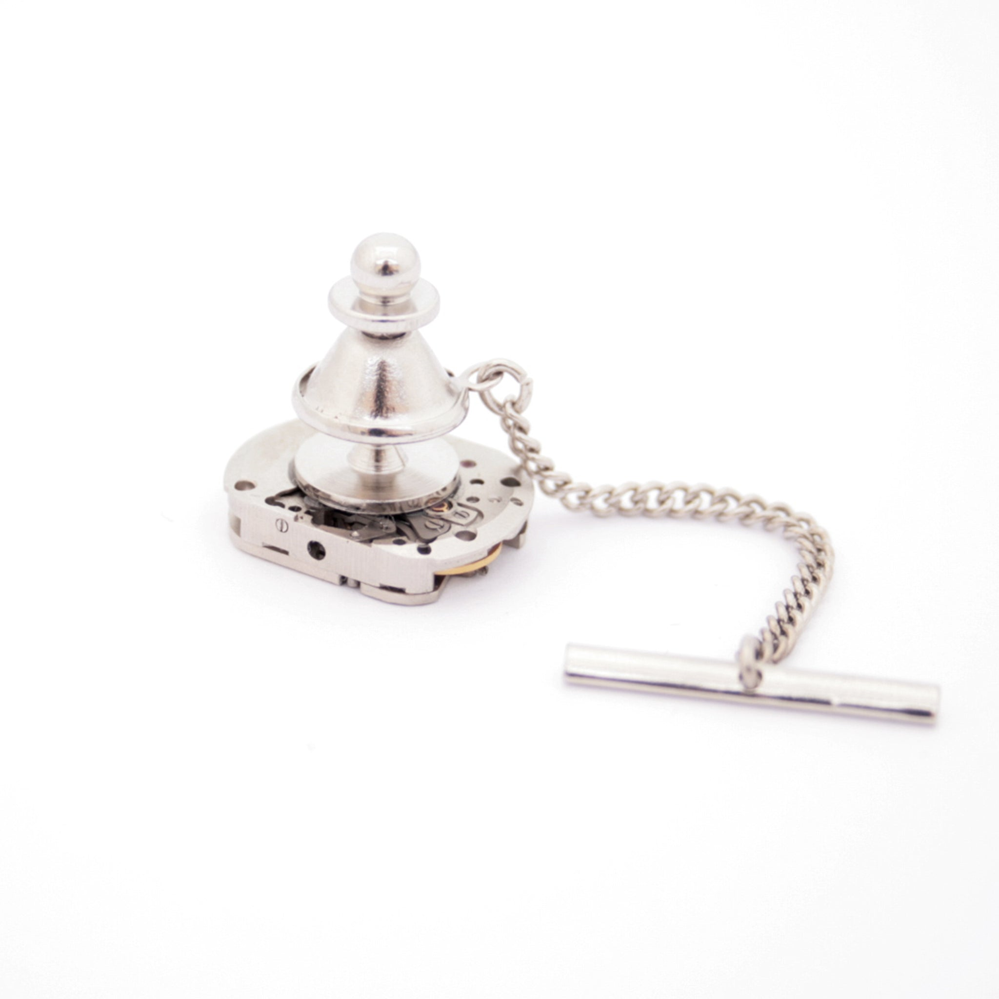 tie tack with chain made of watch movement