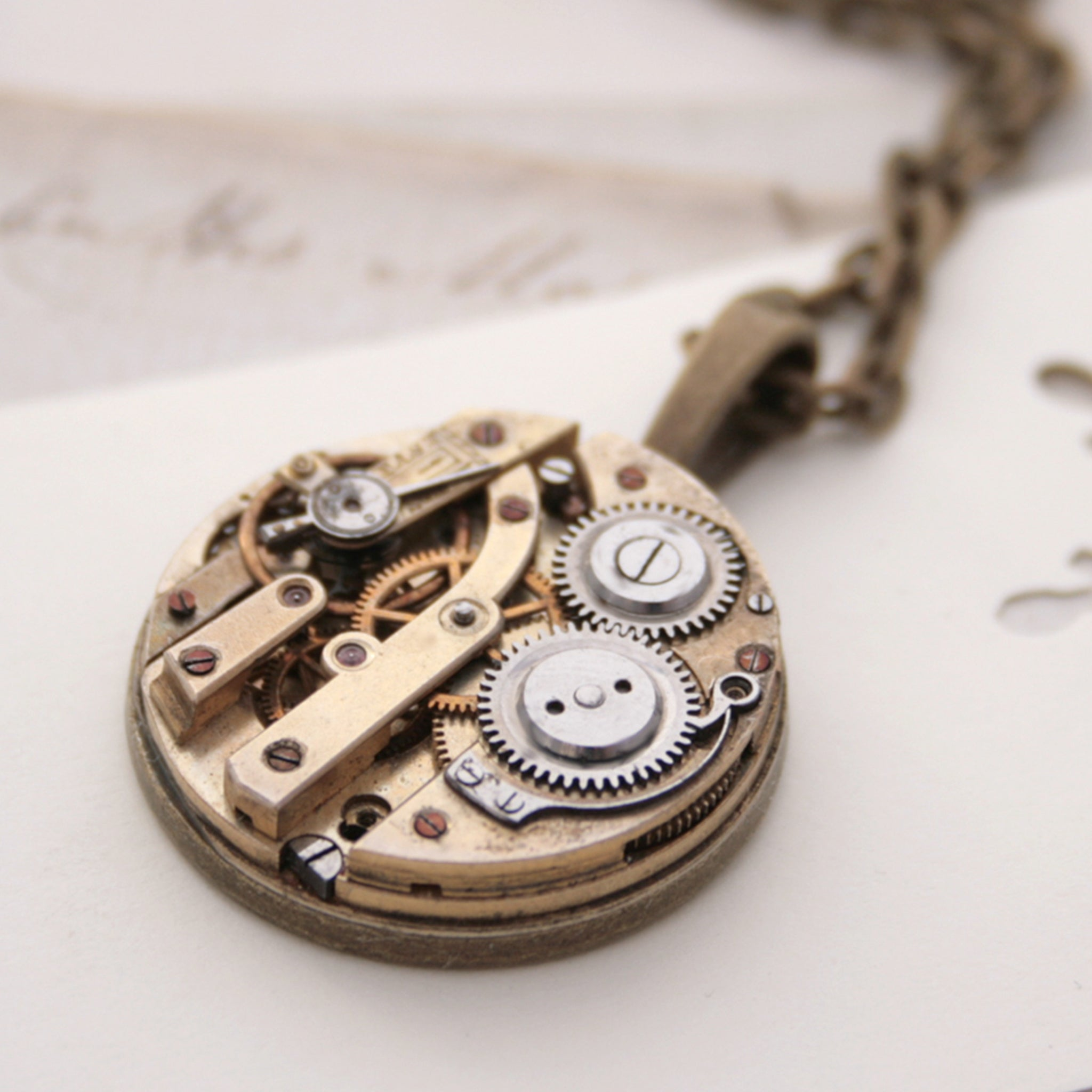 Unique Pendant Necklace with Watch Mechanism in Steampunk Style