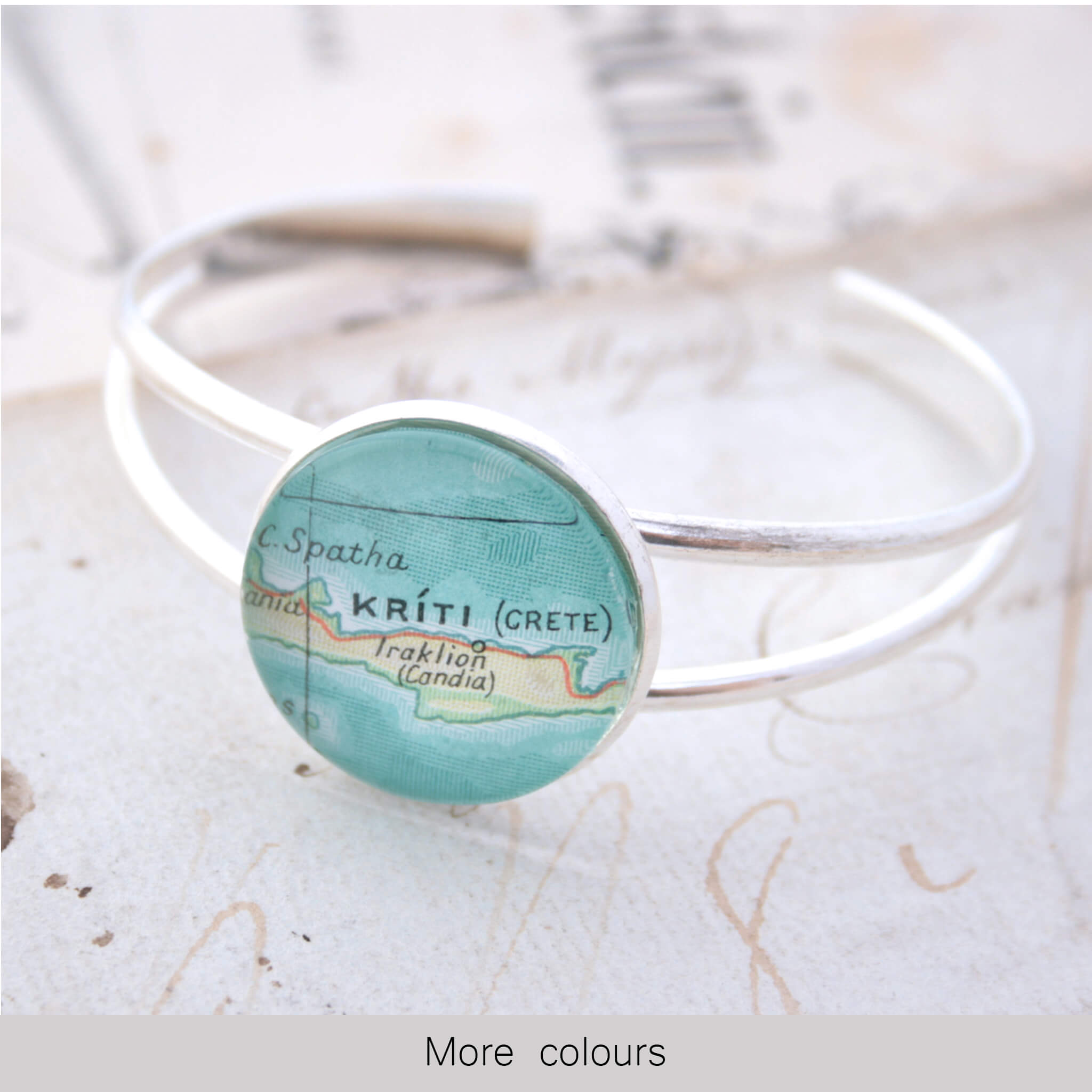 Silver bangle bracelet with geographical map of Kriti