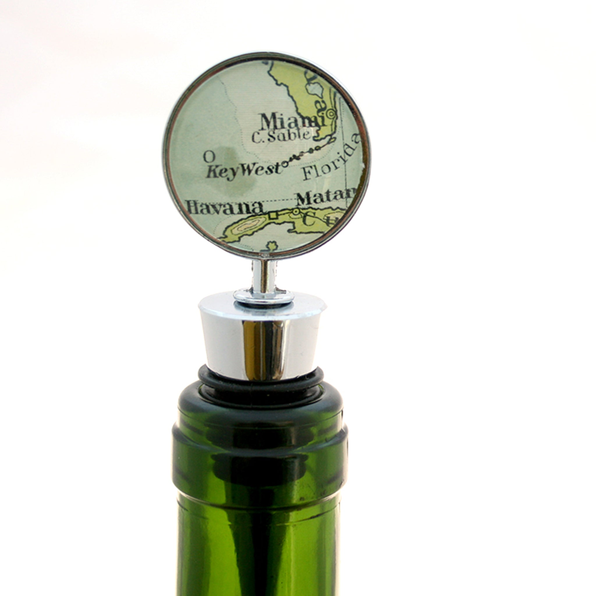 Wine Bottle Stopper personalised with map of Miami