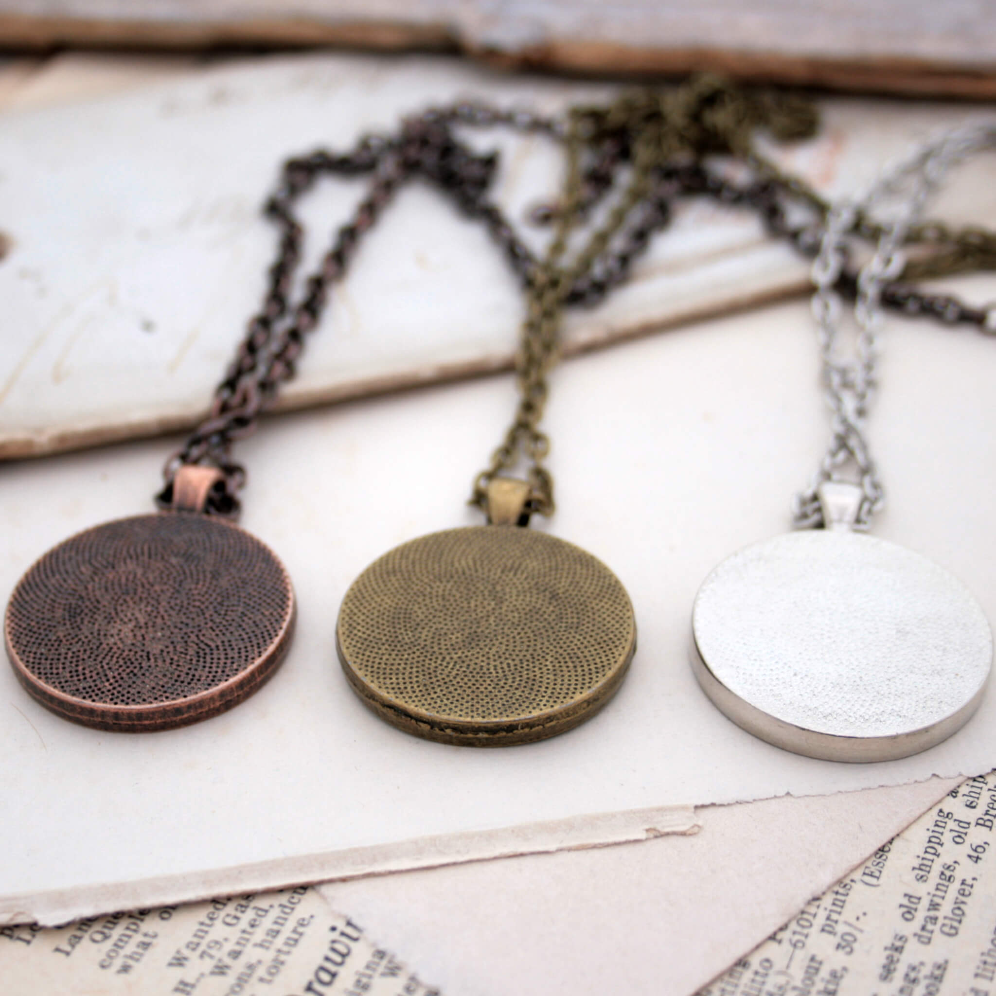 Antique copper, bronze and silver tone necklaces