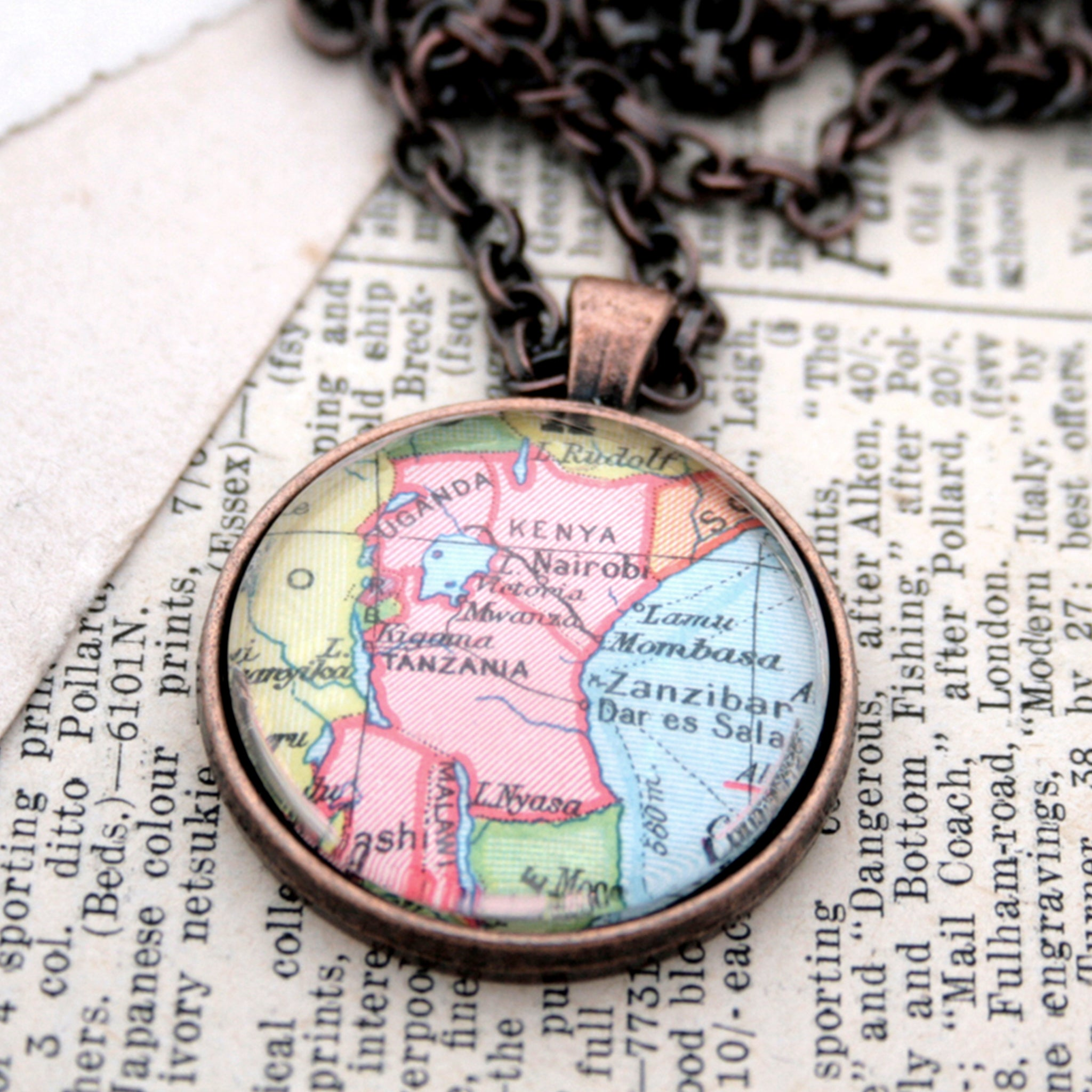 Antique copper statement necklace featuring map of Kenya