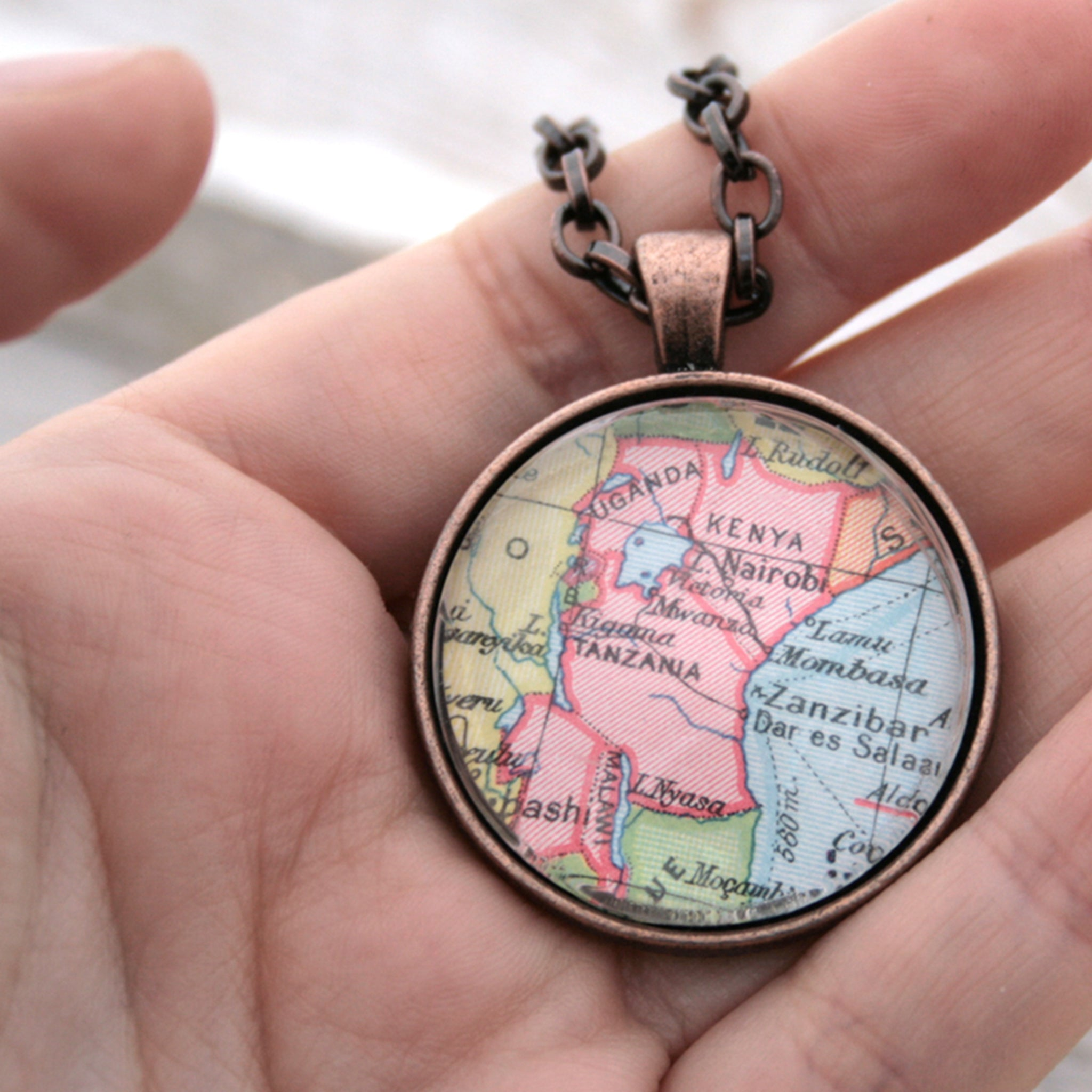Hold in hand Antique copper statement necklace featuring map of Kenya