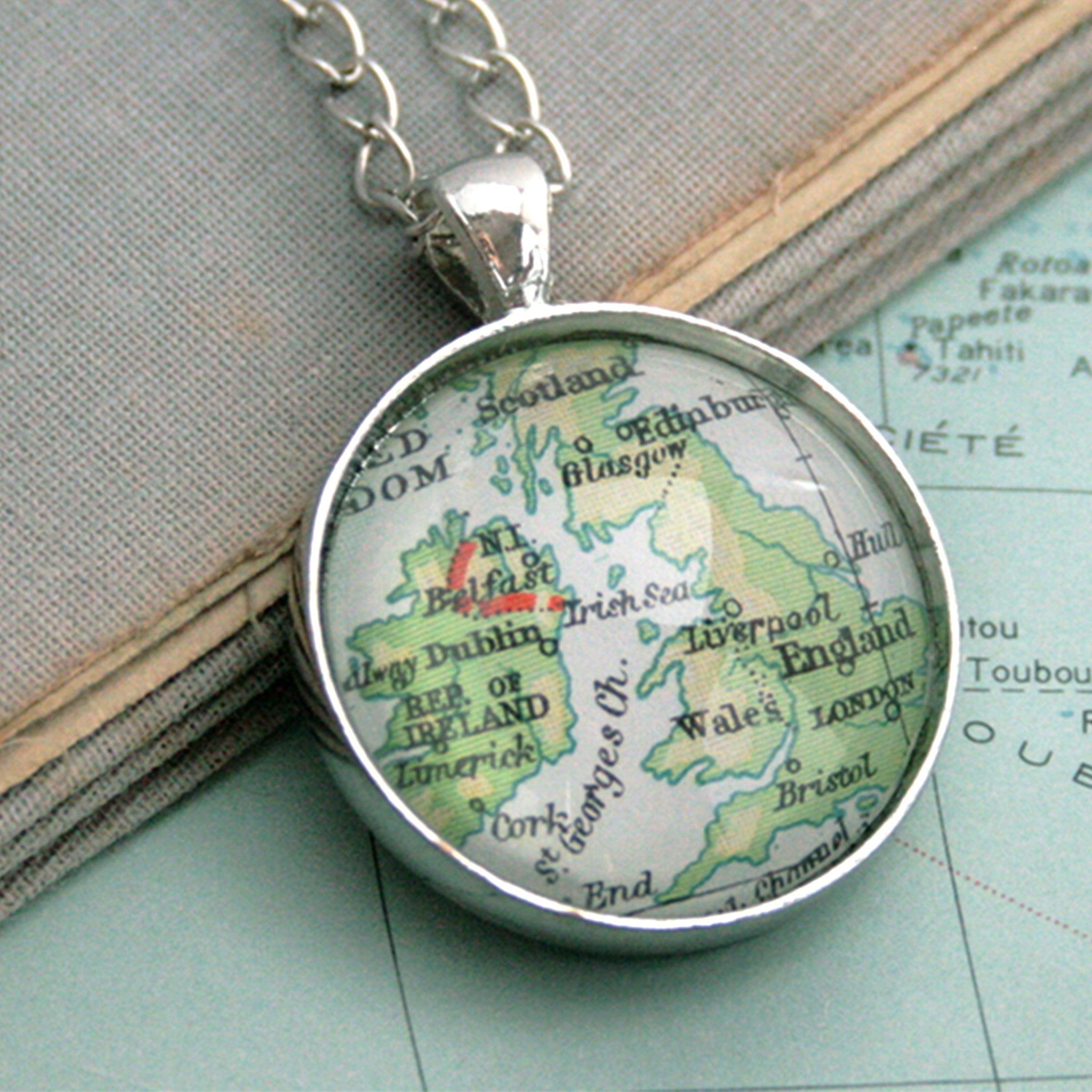 Silver tone statement necklace featuring map of British Isles