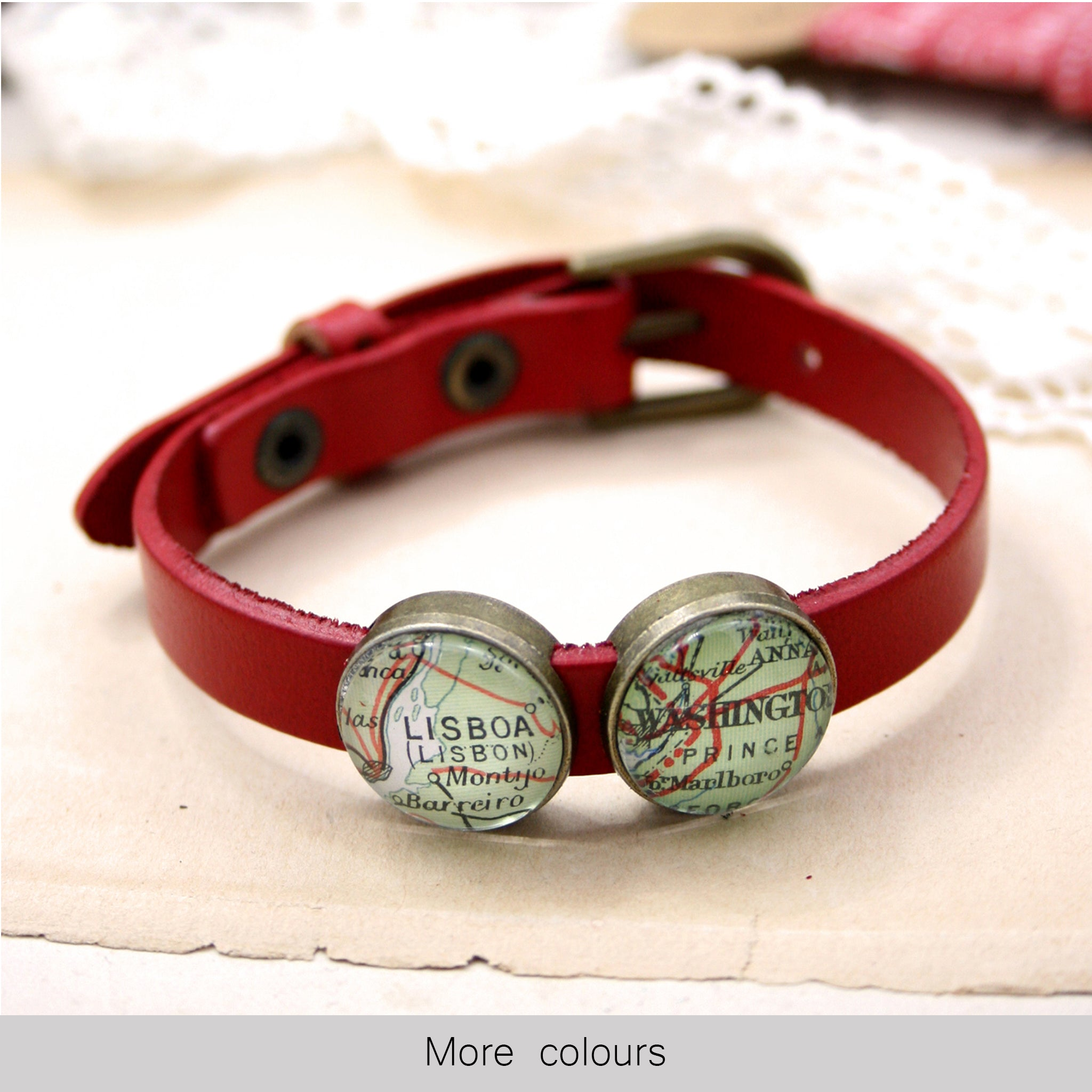 red leather bracelet featuring map locations