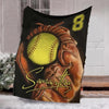 Custom name and number softball blanket, personalized blanket, baseball gift ideas, baseball coach gift ideas, gifts for baseball coach, unique baseball gifts, gifts for baseball lovers, baseball gifts for dad