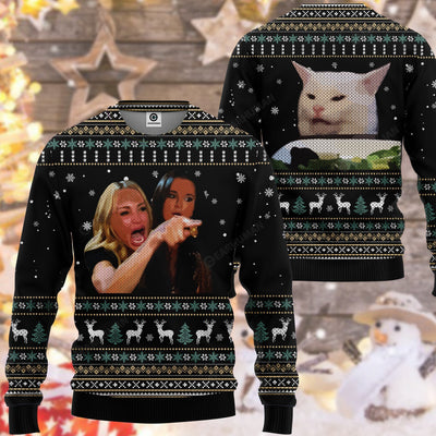 3D ugly woman yelling at a cat custom t shirt, chrismas sweater GST