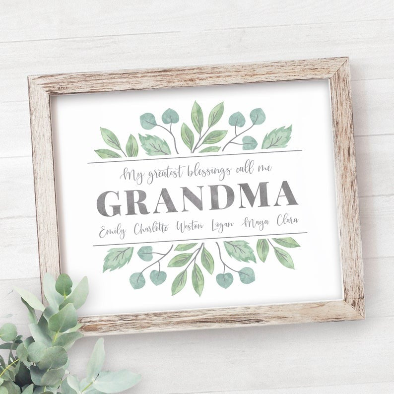 Personalized My Blessing Calls Me Mom Grandma Poster Canvas