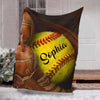Custom Blankets Softball Personalized Blanket - Sherpa Blanket