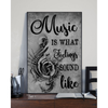 Music Is What Feelings Sound Like Poster Canvas Skull Gift