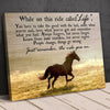 The ride goes on running horse motivational poster canvas - GST