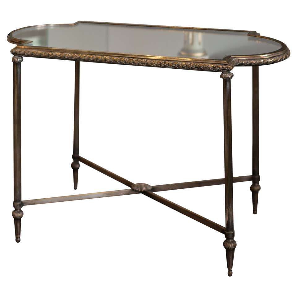 ANTIQUE FRENCH SILVER CHRISTOFLE TABLE WITH MIRRORED TOP