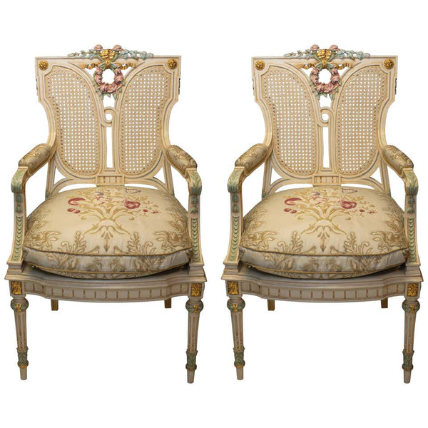 PAIR OF ANTIQUE FRENCH HAND PAINTED CHAIR