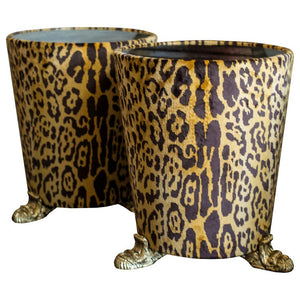 PAIR OF STUDIO MAISON NURITA LEOPARD VELVET SIDE TABLE
