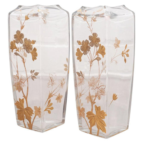 ANTIQUE PAIR OF SIGNED BACCARAT GILDED VASES