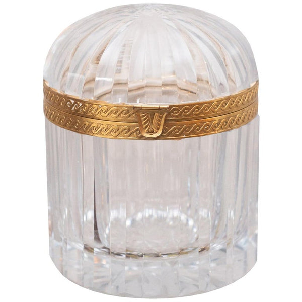 ANTIQUE CUT CRYSTAL DOMED BOX WITH BRONZE MOUNTS