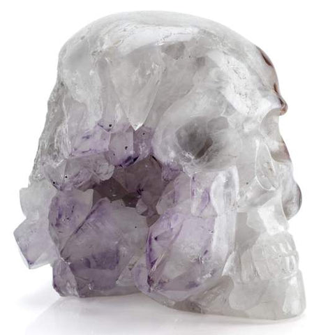 CONTEMPORARY PERUVIAN QUARTZ AND AMETHYST SKULL CARVING