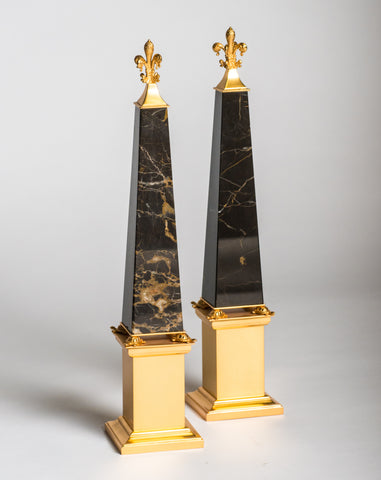 A pair of bronze & St. Laurent marble obelisks embellished with tortoises made by a master bronze maker in Florence. Nurit visited and met with this artisan in his studio. Sold as a pair.