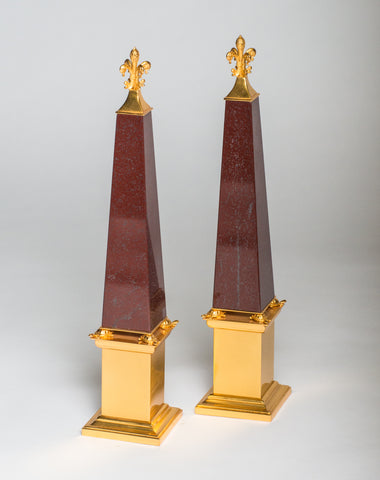 A pair of bronze & red marble obelisks embellished with tortoises made by a master bronze maker in Florence. Nurit visited and met with this artisan in his studio. Sold as a pair.