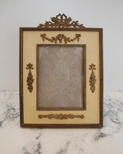 ANTIQUE FRENCH BRONZE & GOLD SILK FRAME