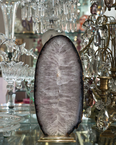 The natural beauty of this large agate slice is elevated with a custom Studio Maison Nurita brass base.