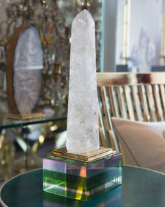 STUDIO MAISON NURITA ROCK CRYSTAL OBELISK ON A BRASS STAND