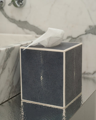 Shagreen Navy Tissue Box with Bone Trim