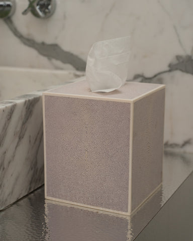 Shagreen Pink Tissue Box with Bone Trim