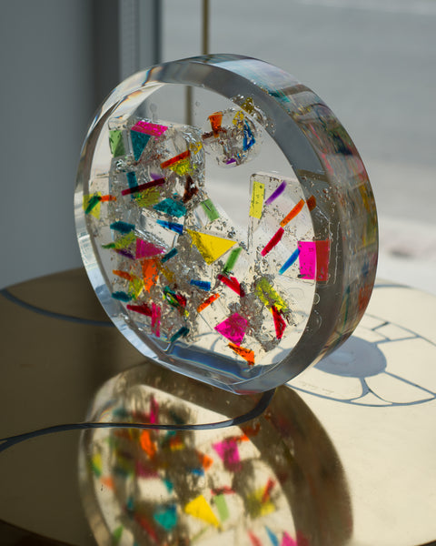 CONTEMPORARY MULTI-COLOURED ACRYLIC SPHERE SCULPTURE