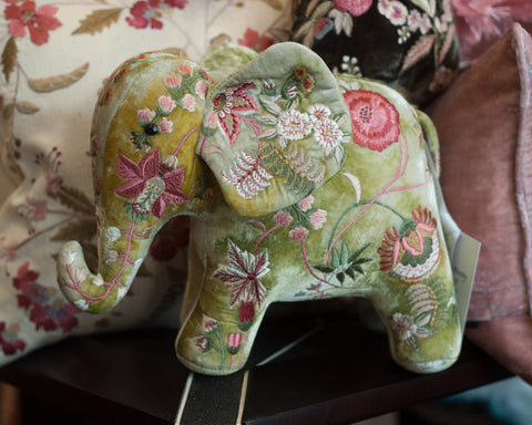 EMBROIDERED ELEPHANT IN MADAME BOVARY SHADED MINT VELVET