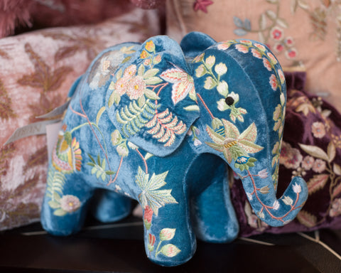 EMBROIDERED ELEPHANT IN MADAME BOVARY RIVIERA BLUE VELVET
