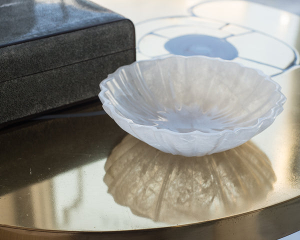 CONTEMPORARY CARVED ROCK CRYSTAL LOTUS BOWL