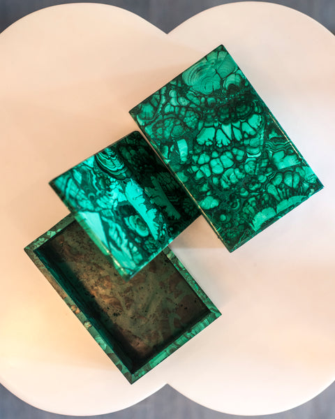 Bring St. Petersburg into your home with one of these Malachite boxes from Paris. The Winter Palace in Russia contains one of the most outstanding displays of this gemstone in a room called The Malachite Room, designed in the 1830's.