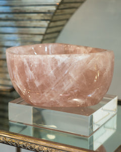A spectacular rare, deep and thick carved Rose Quartz bowl. Rose quartz, the classic stone of love, increases harmony in the environment.